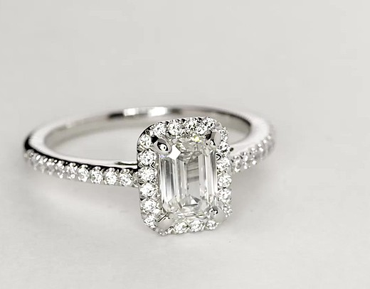 Emerald Cut Halo Diamond Engagement Ring in Platinum