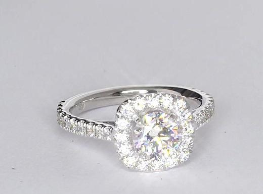 1 Carat Square Halo Diamond Engagement Ring