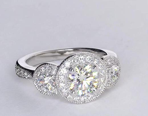 0.77 Carat Three Stone Milgrain Halo Diamond Engagement Ring