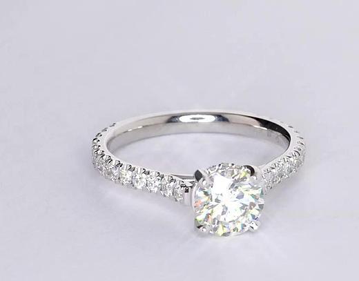 1.01 Carat Petite Pavé Crown Diamond Engagement Ring