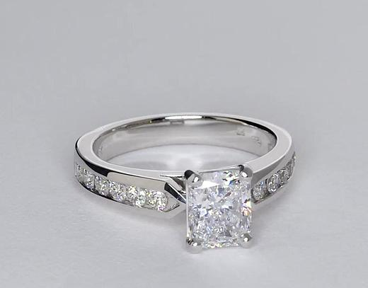 1,62 carat Bague de fiançailles diamant serti barrette