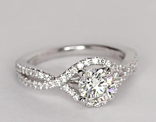 Twisted Halo Diamond Engagement Ring in 14k White Gold (1/3 ct. tw.)