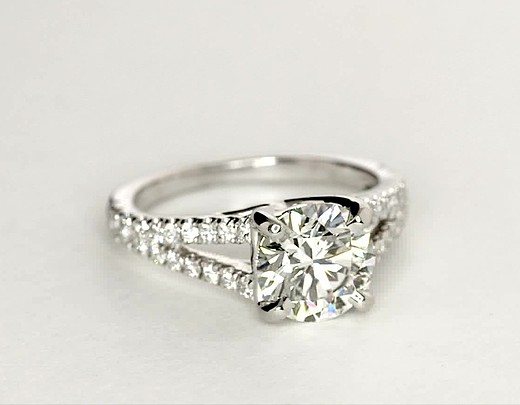 Split Shank Trellis Diamond Engagement Ring In 14k White