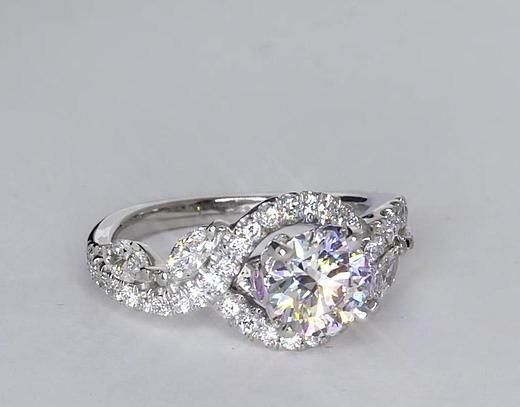 1.02 Carat Monique Lhuillier Floral Diamond Engagement Ring