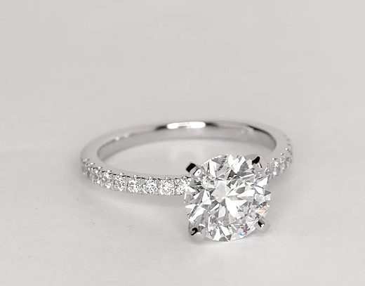 Petite Pavé Diamond Engagement Ring in Platinum (1/4 ct. tw.)