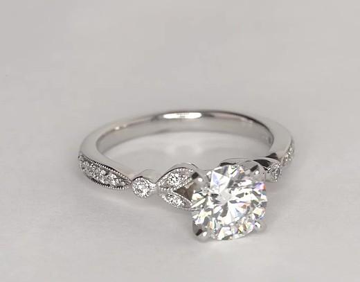 Petite Vintage Pav 233 Leaf Diamond Engagement Ring In 14k