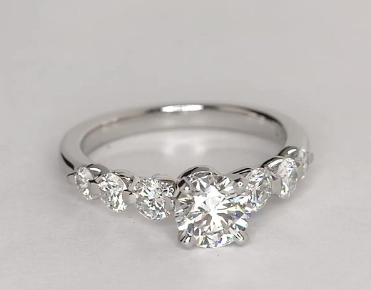 Floating Diamond Engagement Ring In Platinum 3 4 Ct Tw