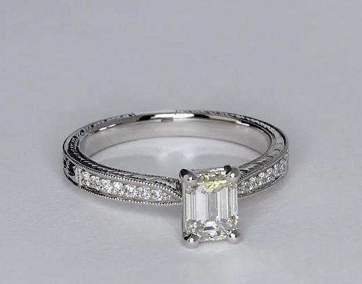 0,92 carat Bague de fiançailles gravée à la main en diamants sertis micro-pavé