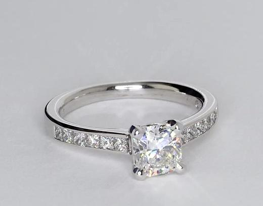 1.05 Carat Channel Set Princess Cut Diamond Engagement Ring