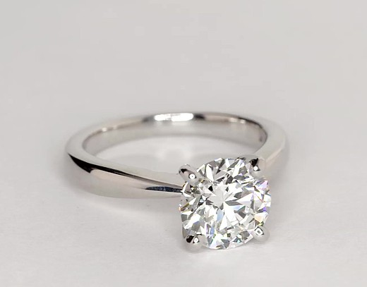 Classic Tapered Four Prong Engagement Ring in 18k White Gold