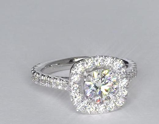 0.9 Carat Square Halo Diamond Engagement Ring