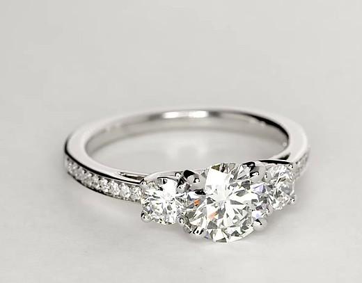Three Stone Pavé Diamond Engagement Ring in 14k White Gold (2/3 ct. tw.)