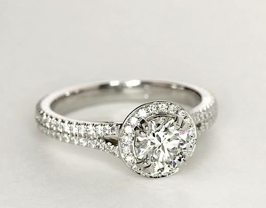 Split Shank Halo Diamond Engagement Ring in Platinum