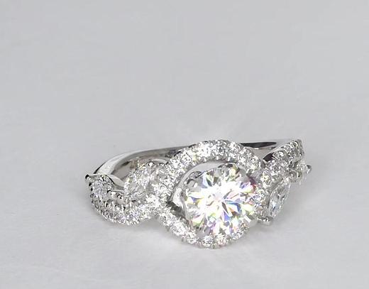 Anillos de compromiso de diamante floral de Monique Lhuillier de 0.81 quilates