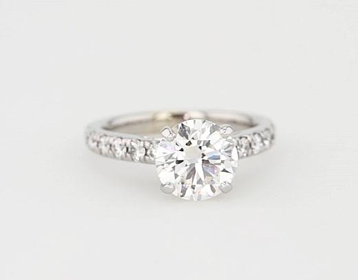 2,21 Carat Riviera Cathedral Pavé Diamond Engagement Ring