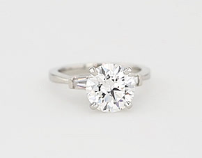 Tapered Baguette Diamond Engagement Ring in Platinum