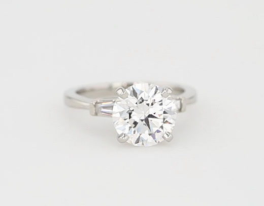 2.7 Carat Tapered Baguette Diamond Engagement Ring
