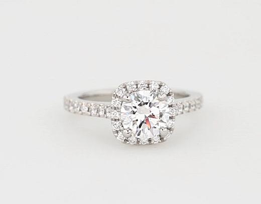 1.18 Carat Cushion Halo Diamond Engagement Ring