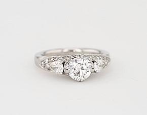 Truly Zac Posen Vintage Three-Stone Diamond Engagement Ring in 14k White Gold (1/2 ct. tw.)