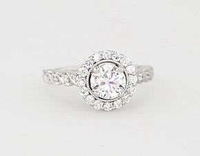 14k 白金 ZAC Zac Posen 锯状滚边光环钻石扭纹订婚戒指<br>(3/8 克拉总重量)
