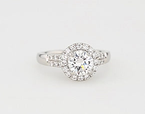 Monique Lhuillier Modern Pave Halo Engagement Ring in Platinum (1/3 ct. tw.)