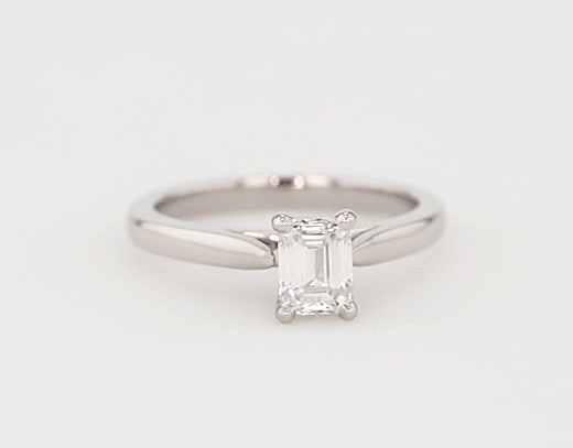 0.96 Carat Tapered Cathedral Solitaire Engagement Ring