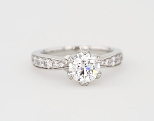 1.53 Carat Monique Lhuillier Petal Pavé Diamond Engagement Ring