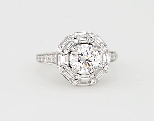 1.35 Carat Monique Lhuillier Baguette Halo Diamond Engagement Ring