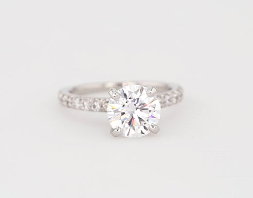 1.72 Carat French Pavé Diamond Engagement Ring