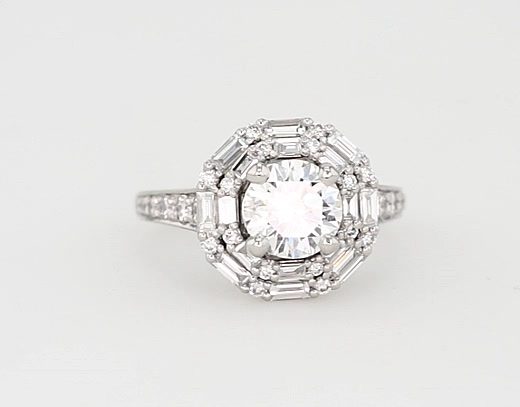 1.2 Carat Monique Lhuillier Baguette Halo Diamond Engagement Ring