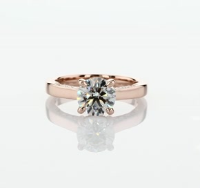 Diamond Pave and Milgrain Profile Solitaire Engagement Ring in 14k Rose Gold (1/6 ct. tw.)