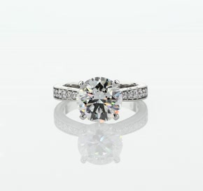 French Pavé Diamond Engagement Ring in Platinum (1 ct. tw.)