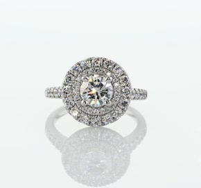 Double Halo Diamond Engagement Ring in 14k White Gold (5/8 ct. tw.)