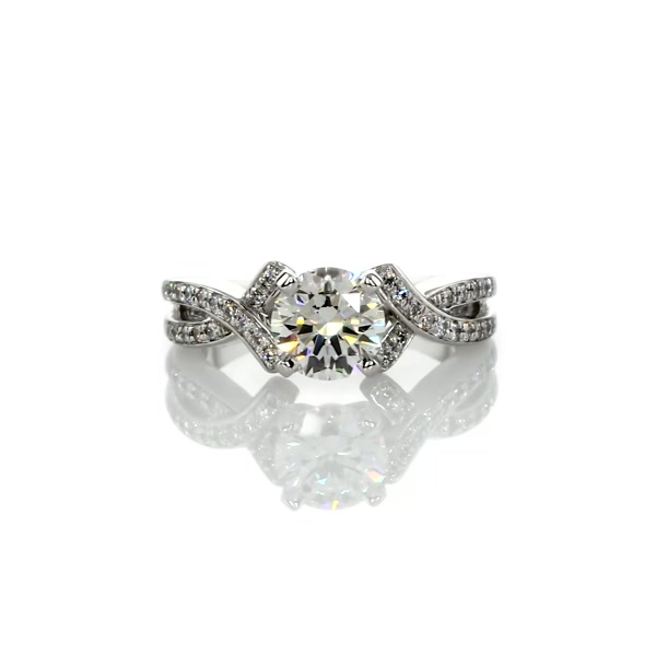 1,15 Carat Intertwined Pavé Diamond Engagement Ring