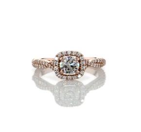 Bague de fiançailles halo torsadé de diamants taille coussin en or rose 14carats (1/2carat, poids total)