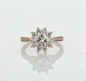Starburst Floral Halo Diamond Engagement Ring in 14k Rose Gold