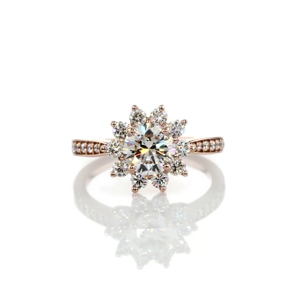 1.2 Carat Starburst Floral Halo Diamond Engagement Ring