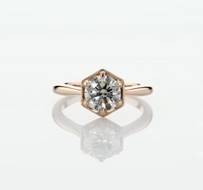 Hexagon Halo Solitaire Diamond Engagement Ring in 14k Rose Gold