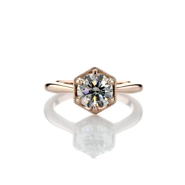 1 Carat Hexagon Halo Solitaire Diamond Engagement Ring