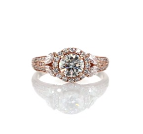 Monique Lhuillier Floral Halo Diamond Engagement Ring in 18k Rose Gold (7/8 ct. tw.)