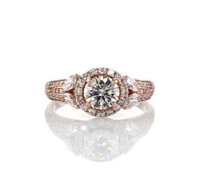 Anillos de compromiso con halo en forma de flor con diamantes de Monique Lhuillier en oro rosado de 18k (7/8 qt. total)