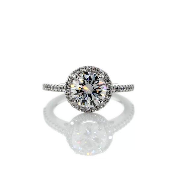 1.4 Carat Classic Halo Diamond Engagement Ring