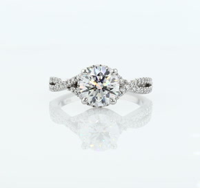 Twisted Halo Diamond Engagement Ring in Platinum
