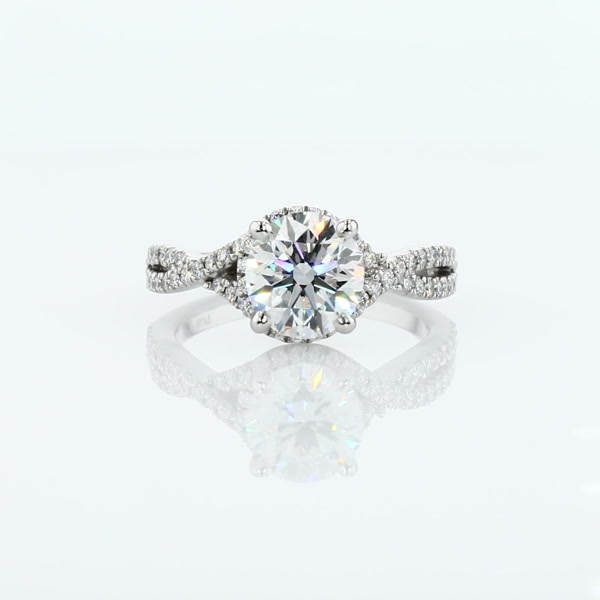 1.58 Carat Twisted Halo Diamond Engagement Ring