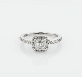 Asscher Cut Halo Diamond Engagement Ring in Platinum