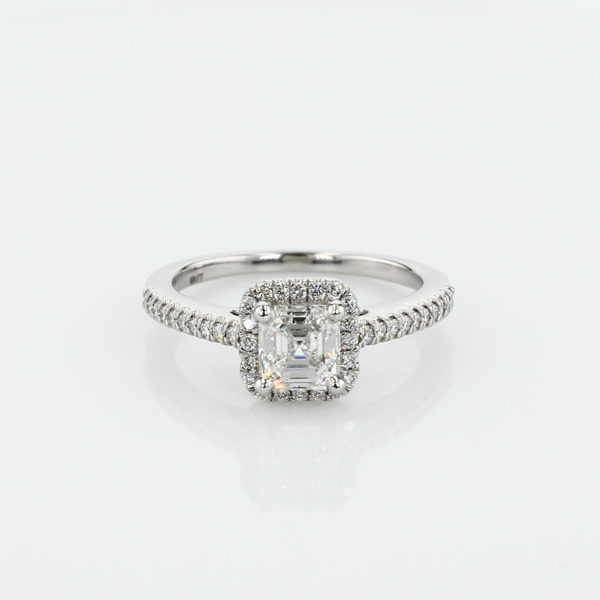 1.01 Carat Asscher Cut Halo Diamond Engagement Ring