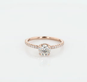 Blue Nile Studio Petite French Pave Crown Diamond Engagement Ring in 18k Rose Gold (1/3 ct. tw.)