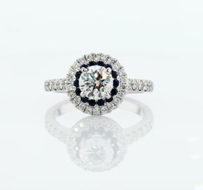 Sapphire and Diamond Double Halo Engagement Ring in 14k White Gold (1/2 ct. tw.)