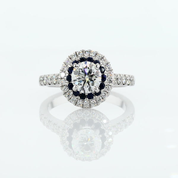 1.06 Carat Sapphire and Diamond Double Halo Engagement Ring