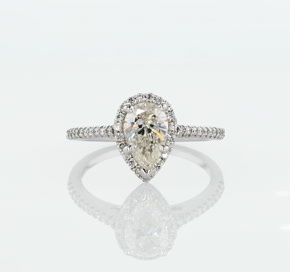 Pear Shaped Halo Diamond Engagement Ring in 14K White Gold